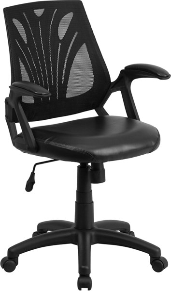 Flash Furniture Black Swivel Task Chair with Leather Padded Seat FLF-GO-WY-82-LEA-GG
