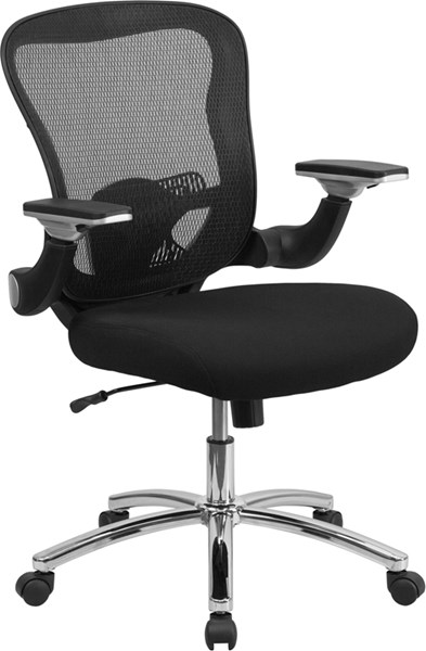 Mid-Back Black Mesh Executive Swivel Office Chair w/Mesh Padded Seat FLF-GO-WY-87-2-GG