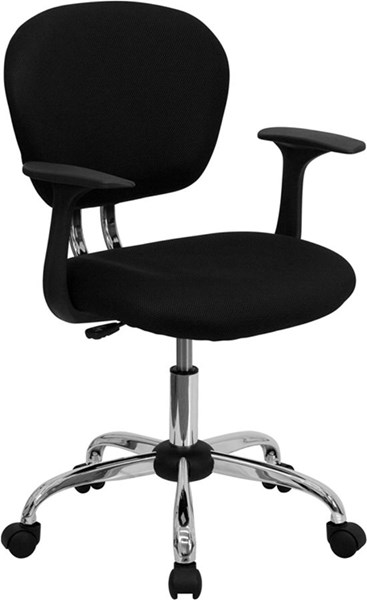 Flash Furniture Mid Back Black Mesh Task Chair with Arms FLF-H-2376-F-BK-ARMS-GG
