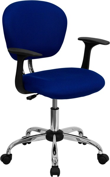 Flash Furniture Mid Back Blue Mesh Task Chair with Arms FLF-H-2376-F-BLUE-ARMS-GG