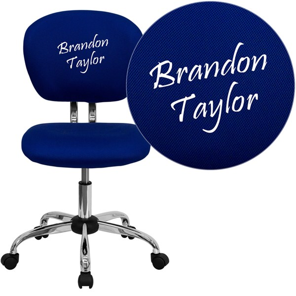 Personalized Mid-Back Blue Mesh Swivel Task Chair with Chrome Base FLF-H-2376-F-BLUE-TXTEMB-GG
