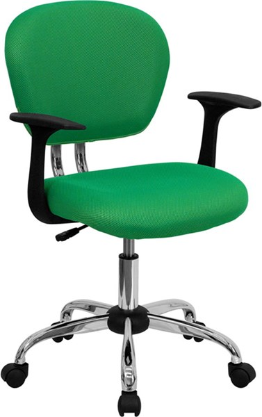 Flash Furniture Mid Back Bright Green Mesh Task Chair with Arms FLF-H-2376-F-BRGRN-ARMS-GG