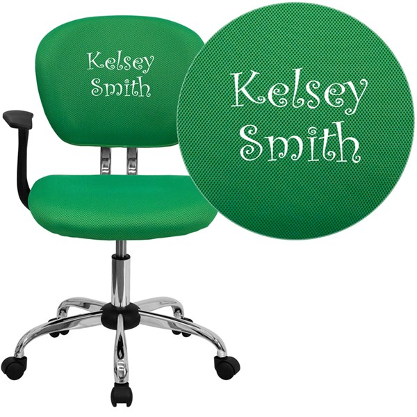 Personalized Mid-Back Bright Green Mesh Swivel Task Chair FLF-H-2376-F-BRGRN-ARMS-TXTEMB-GG