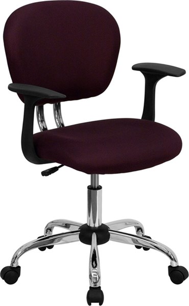 Mid-Back Burgundy Mesh Task Chair w/Arms & Chrome Base FLF-H-2376-F-BY-ARMS-GG