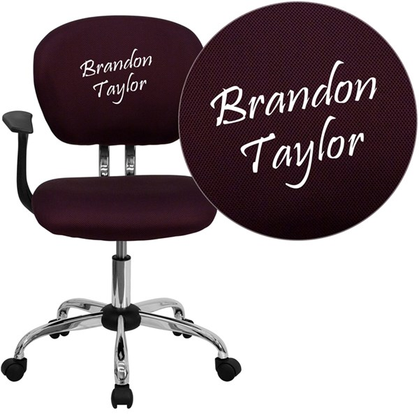 Personalized Mid-Back Burgundy Mesh Swivel Task Chair FLF-H-2376-F-BY-ARMS-TXTEMB-GG