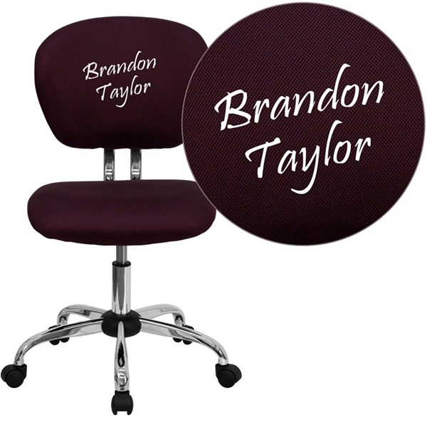Personalized Mid-Back Burgundy Mesh Swivel Task Chair with Chrome Base FLF-H-2376-F-BY-TXTEMB-GG