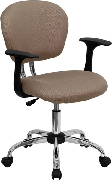 Flash Furniture Mid Back Coffee Brown Mesh Task Chair with Arms FLF-H-2376-F-COF-ARMS-GG