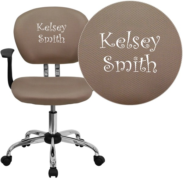 Personalized Mid-Back Coffee Brown Mesh Swivel Task Chair FLF-H-2376-F-COF-ARMS-TXTEMB-GG