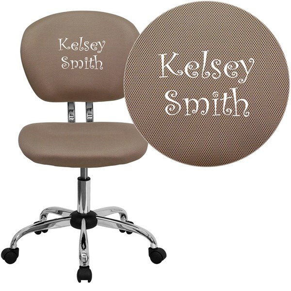 Personalized Mid-Back Coffee Brown Mesh Chrome Base Swivel Task Chair FLF-H-2376-F-COF-TXTEMB-GG