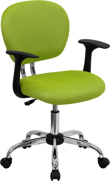 Flash Furniture Mid Back Apple Green Mesh Task Chair with Arms FLF-H-2376-F-GN-ARMS-GG