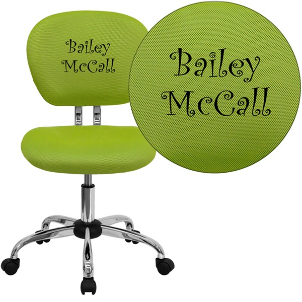 Personalized Mid-Back Apple Green Mesh Swivel Task Chair w/Chrome Base FLF-H-2376-F-GN-TXTEMB-GG