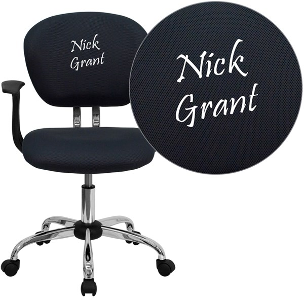 Personalized Mid-Back Gray Mesh Swivel Task Chair FLF-H-2376-F-GY-ARMS-TXTEMB-GG