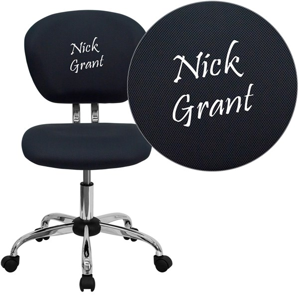 Personalized Mid-Back Gray Mesh Swivel Task Chair with Chrome Base FLF-H-2376-F-GY-TXTEMB-GG