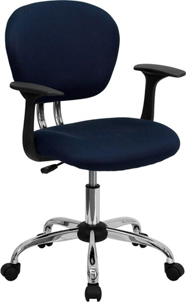 Mid-Back Navy Mesh Task Chair w/Arms & Chrome Base FLF-H-2376-F-NAVY-ARMS-GG