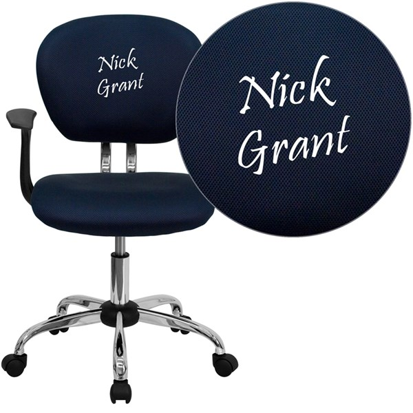Personalized Mid-Back Navy Mesh Swivel Task Chair FLF-H-2376-F-NAVY-ARMS-TXTEMB-GG