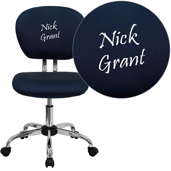 Personalized Mid-Back Navy Mesh Swivel Task Chair with Chrome Base FLF-H-2376-F-NAVY-TXTEMB-GG