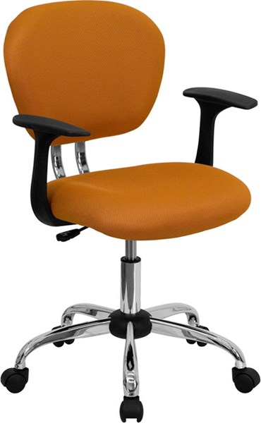 Mid-Back Orange Mesh Task Chair w/Arms & Chrome Base FLF-H-2376-F-ORG-ARMS-GG