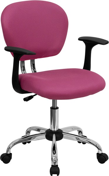 Flash Furniture Mid Back Pink Mesh Task Chair with Arms FLF-H-2376-F-PINK-ARMS-GG