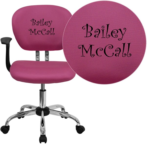 Personalized Mid-Back Pink Mesh Swivel Task Chair FLF-H-2376-F-PINK-ARMS-TXTEMB-GG