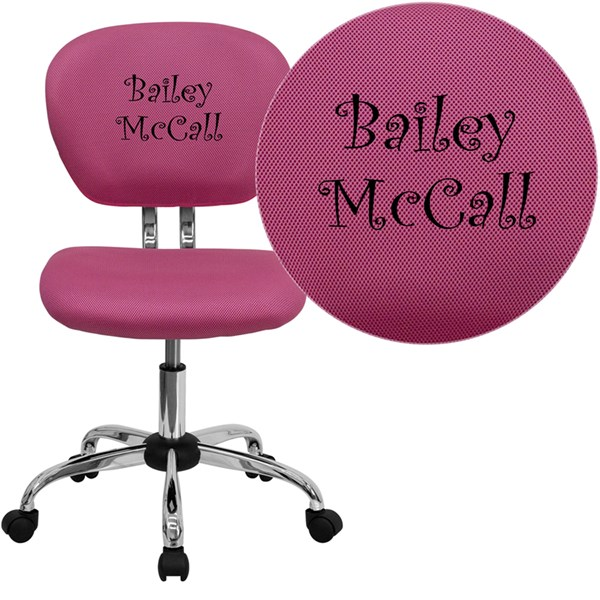 Personalized Mid-Back Pink Mesh Swivel Task Chair with Chrome Base FLF-H-2376-F-PINK-TXTEMB-GG