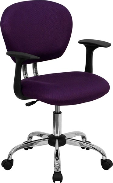 Flash Furniture Mid Back Purple Mesh Task Chair with Arms FLF-H-2376-F-PUR-ARMS-GG