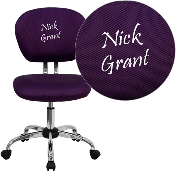 Personalized Mid-Back Purple Mesh Swivel Task Chair with Chrome Base FLF-H-2376-F-PUR-TXTEMB-GG