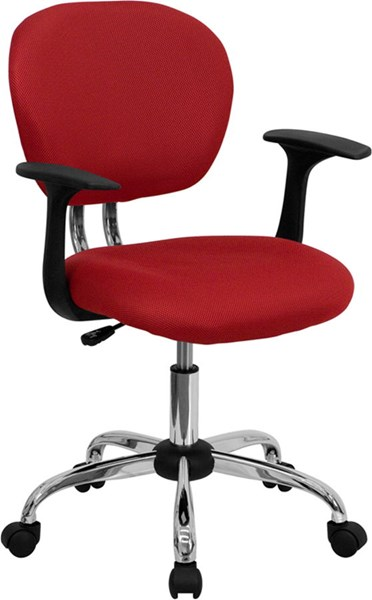 Flash Furniture Mid Back Red Mesh Task Chair with Arms FLF-H-2376-F-RED-ARMS-GG