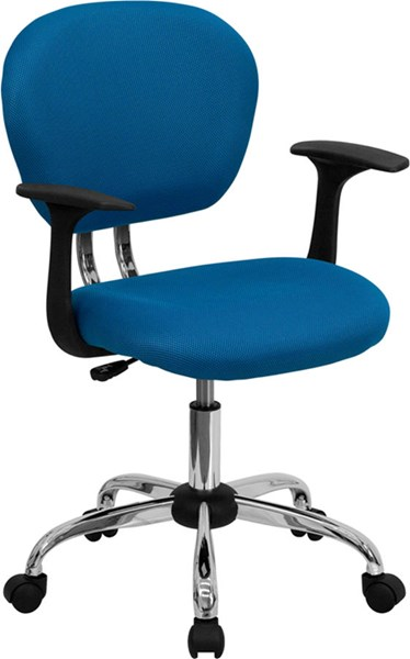Flash Furniture Mid Back Turquoise Mesh Task Chair with Arms FLF-H-2376-F-TUR-ARMS-GG