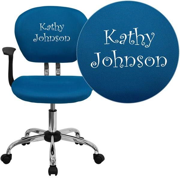 Personalized Mid-Back Turquoise Mesh Swivel Task Chair FLF-H-2376-F-TUR-ARMS-TXTEMB-GG