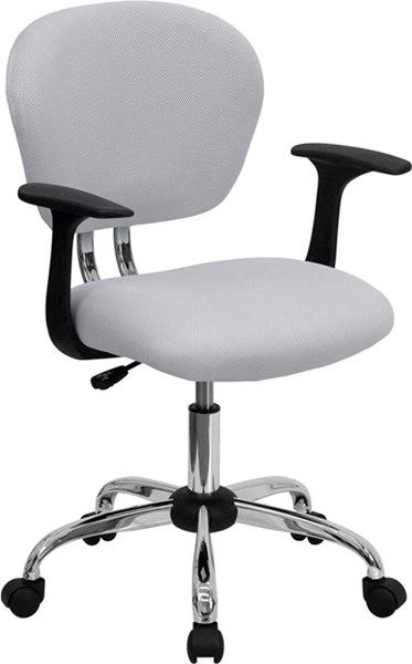 Mid-Back White Mesh Task Chair w/Arms & Chrome Base FLF-H-2376-F-WHT-ARMS-GG