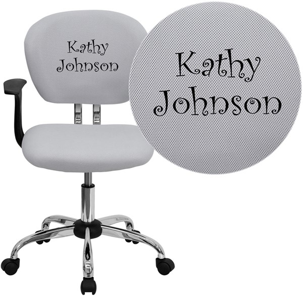 Personalized Mid-Back White Mesh Swivel Task Chair FLF-H-2376-F-WHT-ARMS-TXTEMB-GG