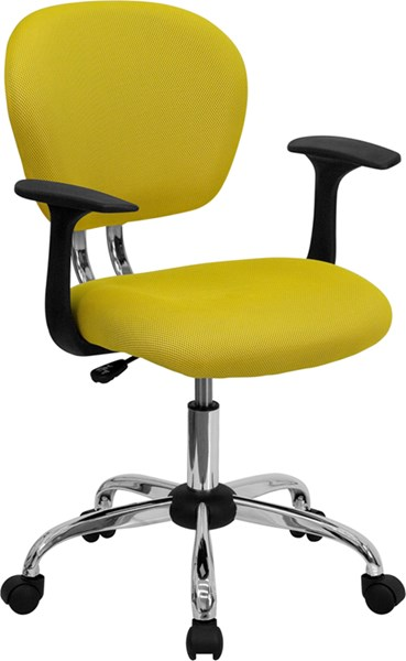 Flash Furniture Mid Back Yellow Mesh Task Chair with Arms FLF-H-2376-F-YEL-ARMS-GG
