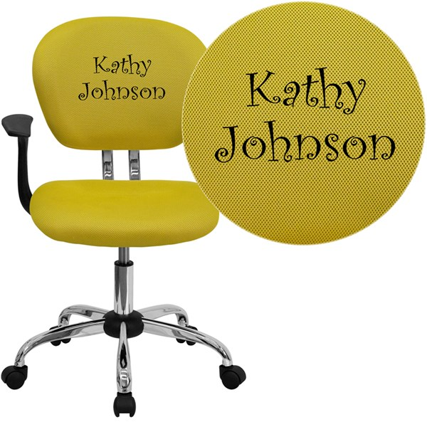 Personalized Mid-Back Yellow Mesh Swivel Task Chair FLF-H-2376-F-YEL-ARMS-TXTEMB-GG