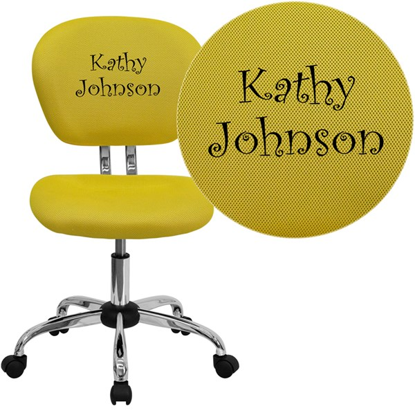 Personalized Mid-Back Yellow Mesh Swivel Task Chair with Chrome Base FLF-H-2376-F-YEL-TXTEMB-GG