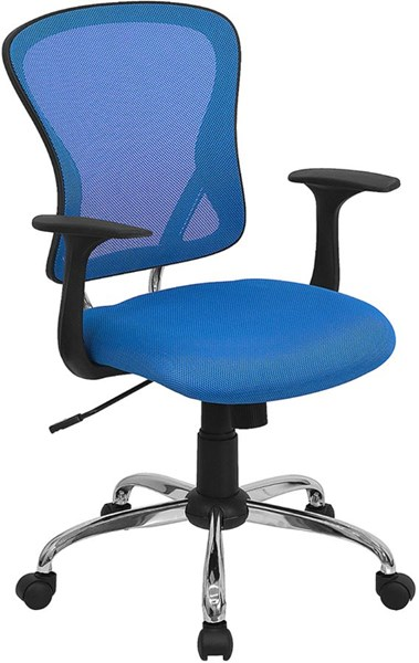 Flash Furniture Mid Back Blue Mesh Office Chair with Chrome Base FLF-H-8369F-BL-GG
