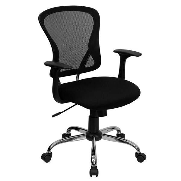 Flash Furniture Mid Back Black Office Chair with Chrome Base FLF-H-8369F-BLK-GG
