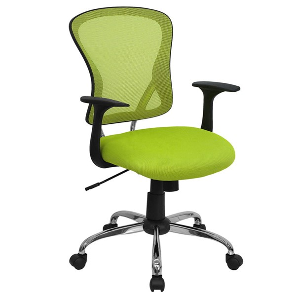 Flash Furniture Mid Back Green Mesh Office Chair with Chrome Base FLF-H-8369F-GN-GG
