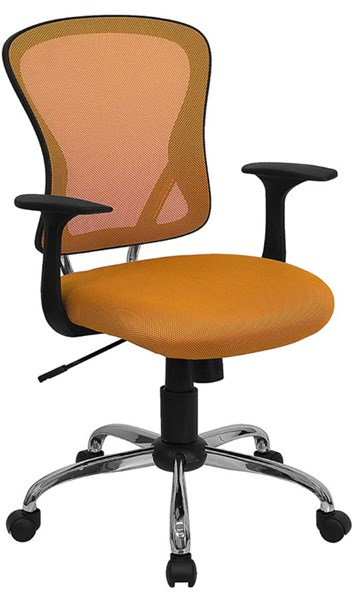 Flash Furniture Mid Back Orange Mesh Office Chair with Chrome Base FLF-H-8369F-ORG-GG