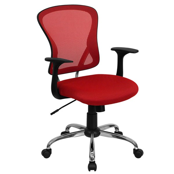 Flash Furniture Mid Back Red Mesh Office Chair with Chrome Base FLF-H-8369F-RED-GG