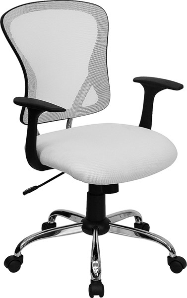 Flash Furniture Mid Back White Mesh Office Chair with Chrome Base FLF-H-8369F-WHT-GG