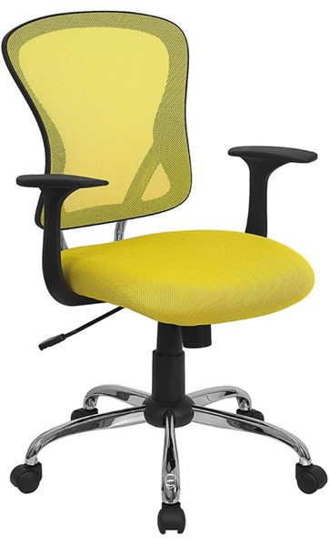 Mid-Back Yellow Mesh Office Chair w/Chrome Finished Base FLF-H-8369F-YEL-GG