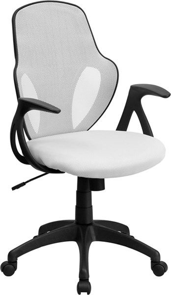 Mid-Back White Mesh Executive Swivel Office Chair with Nylon Base FLF-H-8880F-WHT-GG