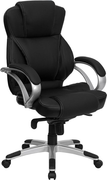 Flash Furniture Black Silver Leather Metal High Back Office Chair FLF-H-9626L-2-GG