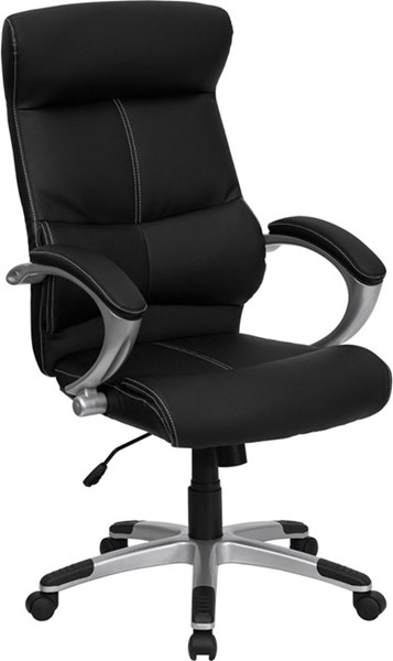 Flash Furniture Black Silver Leather High Back Executive Office Chair FLF-H-9637L-1C-HIGH-GG