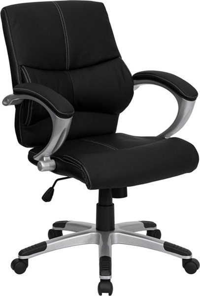 Mid-Back Black Leather Contemporary Managers Office Chair FLF-H-9637L-2-MID-GG