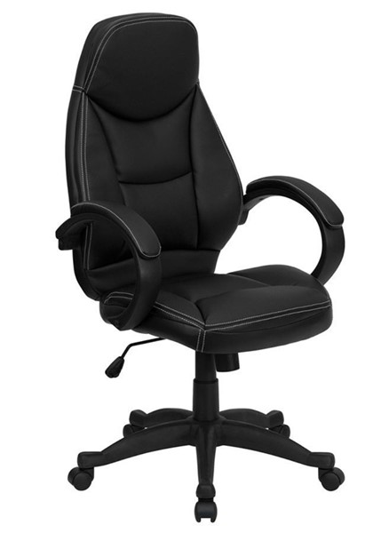 Flash Furniture Contemporary Black Leather High Back Office Chair FLF-H-HLC-0005-HIGH-1B-GG