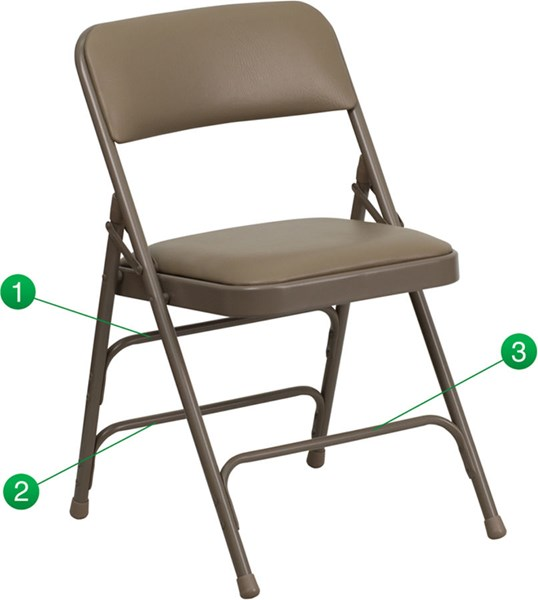 Curved Triple Braced & Quad Hinged Vinyl Metal Folding Chairs FLF-HA-MC309AV-GG-VAR
