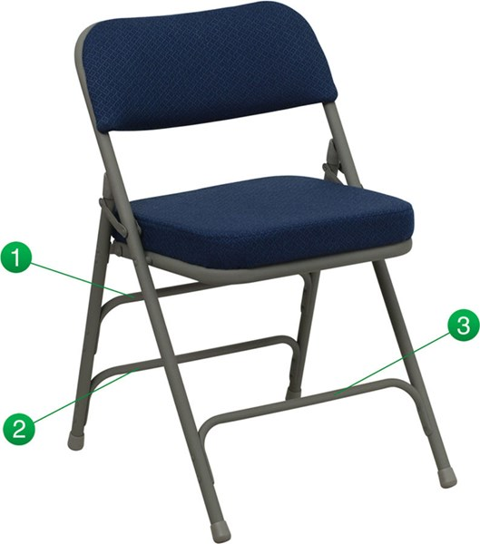 Premium Curved Triple Braced & Quad Hinged Navy Fabric Folding Chair FLF-HA-MC320AF-NVY-GG
