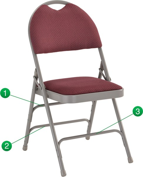 Flash Furniture Hercules Extra Large Ultrapremium Triple Braced Burgundy Folding Chair FLF-HA-MC705AF-3-BY-GG