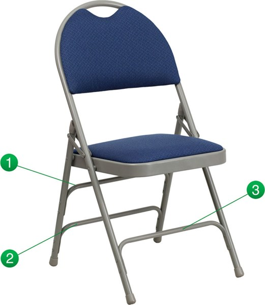Flash Furniture Hercules Extra Large Ultrapremium Triple Braced Navy Fabric Folding Chair FLF-HA-MC705AF-3-NVY-GG